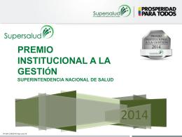 Premio Institucional a la Gestión 2014