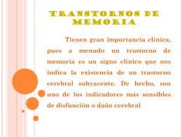 TRANSTORNOS DE MEMORIA