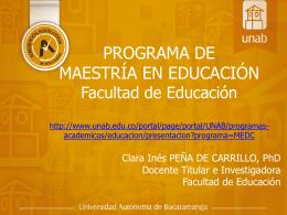 MAESTRÍA EN EDUCACIÓN Facultad de Educación Curso de