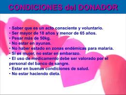 CONDICIONES del DONADOR de SANGRE