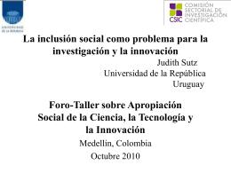 La inclusión social como problema para la