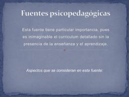 Fuentes psicopedagógicas