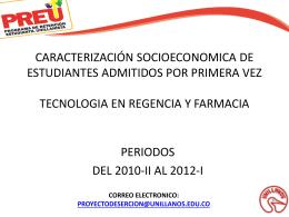 caracterizacion socio económica de estudiantes admitidos