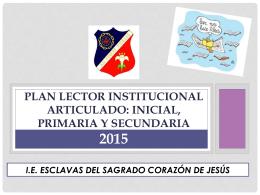 PLAN LECTOR ARTICULADO 2015 - Esclavas del Sagrado Corazón