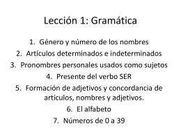 Lección 1: Gramática