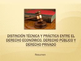 Distincion tecnica y practica entre el derecho economico