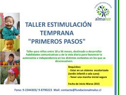 TALLER ESTIMULACION TEMPRANA PRIMEROS PASOS