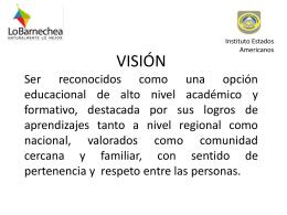 Principios Vision Misión Valores y Objetivos institucionales 2015