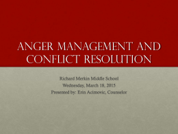 Anger Management and Conflict Resolution