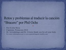 Retos y Problemas al traducir la Cancion *Bracero* por Phil Ochs