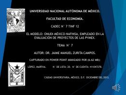 Modelo ONUDI - Facultad de Economía