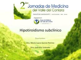 Hipotiroidismo subclinico Disertantes: Dra. Laura García Petrino Dra