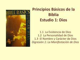 Principios Básicos de la Biblia, Estudio 1: Dios