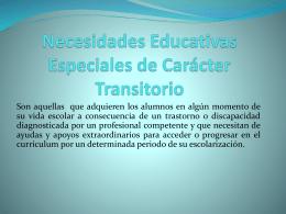 Necesidades Educativas Especiales de Carácter