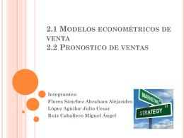 2.1 Modelos econométricos de venta 2.2