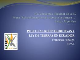 Políticas redistributivas y Ley de Tierras en Ecuador-Hidalgo