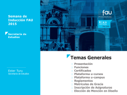 Secretaría de Estudios - Facultad de Arquitectura y Urbanismo de la
