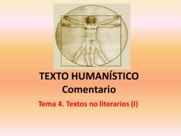 TEXTO HUMANÍSTICO Comentario Tema 4. Textos no literarios
