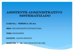 ASISTENTE ADMINISTRATIVO SISTEMATIZADO CLASE No 4
