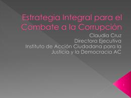 Estrategia integral para el combate a la Corrupción, Claudia Cruz