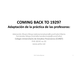 COMING BACK TO 1929? Adaptación de la