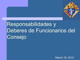Responsabilidades de Funcionarios del Consejo