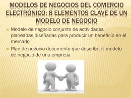 MODELOS DE NEGOCIOS DEL COMERCIO ELECTRÓNICO: 8