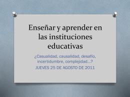Enseñar y aprender en las instituciones