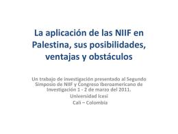 La aplicación de las NIIF en Palestina, sus posibilidades, ventajas y