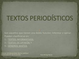 TEXTOS PERIODÍSTICOS - LENGUA Y LITERATURA