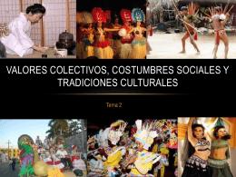Valores colectivos, costumbres sociales y