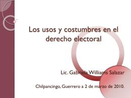 Loa usos y costumbres en el derecho electoral