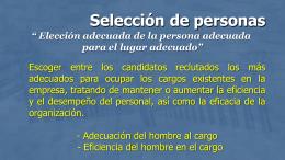 Seleccion, aplicacion y diseño de cargos 2015