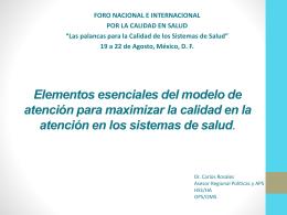 Elementos esenciales del modelo de atención para lograr