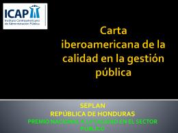 Carta iberoamericana de la calidad en la gestión pública SEPLAN
