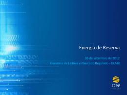 Apresentação InfoPLD - Contratação de Energia de Reserva