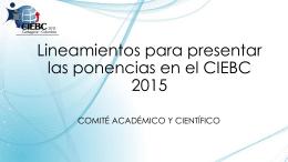 Lineamientos para presentar las ponencias en el CIEBC 2015