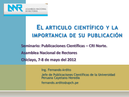 El artículo científico y la importancia de su publicación