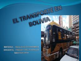 EL TRANSPORTE EN BOLIVIA
