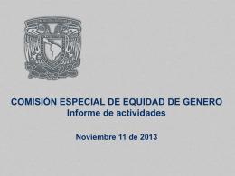 COMISIÓN ESPECIAL DE EQUIDAD DE GÉNERO