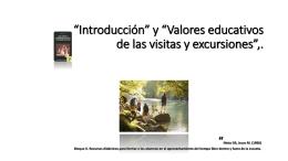 Introducción* y *Valores educativos de las visitas y excursiones*, en