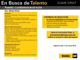 Promoción Interna - COORD. FLOTA DE RENTAS