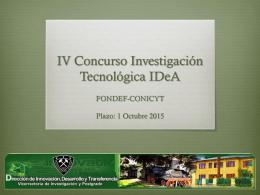 XII Concurso Nacional de Proyectos de Investigación y Desarrollo