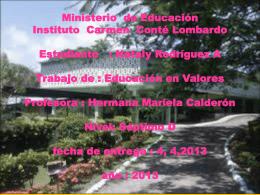 Ministerio de Educación Instituto Carmen Conté Lombardo