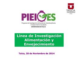 Alimentación y Envejecimiento, Prof. Elba Leiva, Universidad de