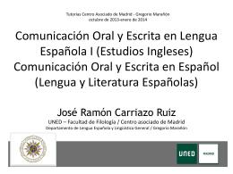 Comunicación Oral y Escrita en Lengua Española I