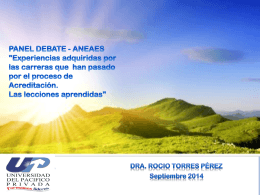 "PANEL DEBATE - ANEAES ""Experiencias adquiridas por las"