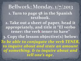Bellwork: Monday, 1/7/2013