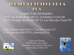 Invitación a la Inauguración del torneo de fútbol de la FCA
