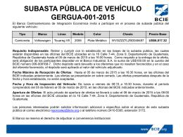 SUBASTA PÚBLICA DE VEHÍCULOS - Banco Centroamericano de